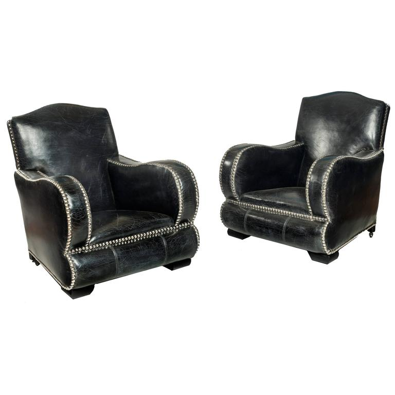 Pair of Large Art Deco Style Armchairs