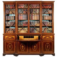 Fine Late Victorian Mahogany and Inlaid Sheraton Revival Breakfront Bookcase