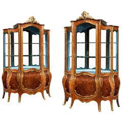 Pair of Exhibition Quality Napoleon III Kingwood Vitrines, the Glazed Upper Se