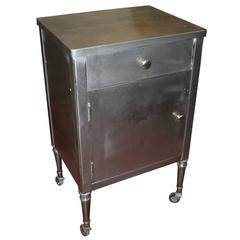 Great 1930s Steel Industrial Cabinet Nightstand