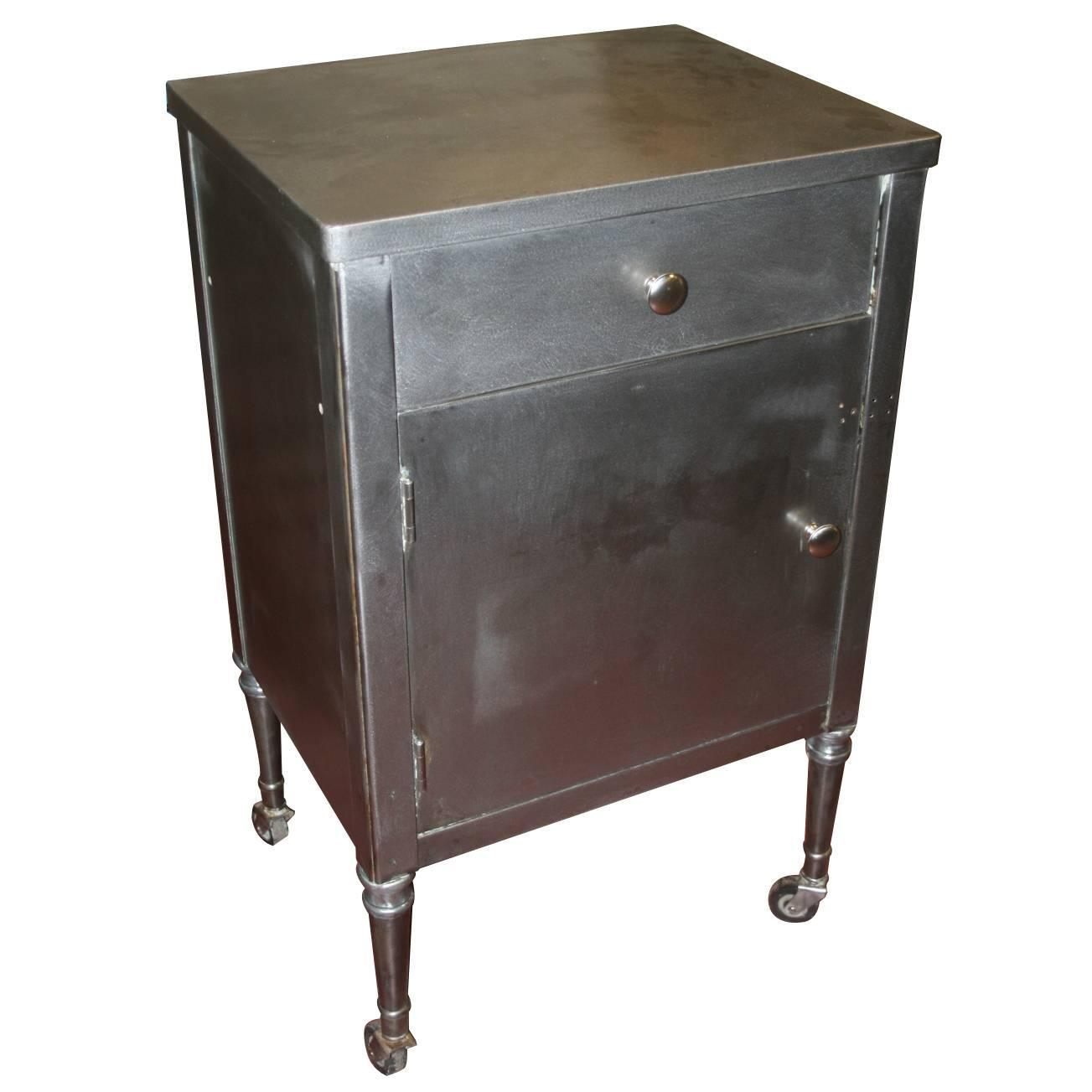 Great 1930s Steel Industrial Cabinet Nightstand For Sale at 1stdibs