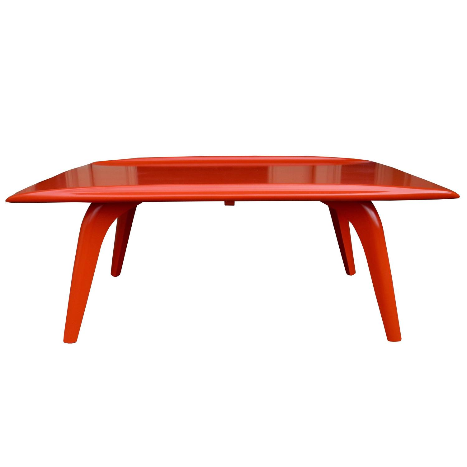 Heywood Retro Coffee Table: Orange Red Mid-Century Modern Coffee Table By Heywood