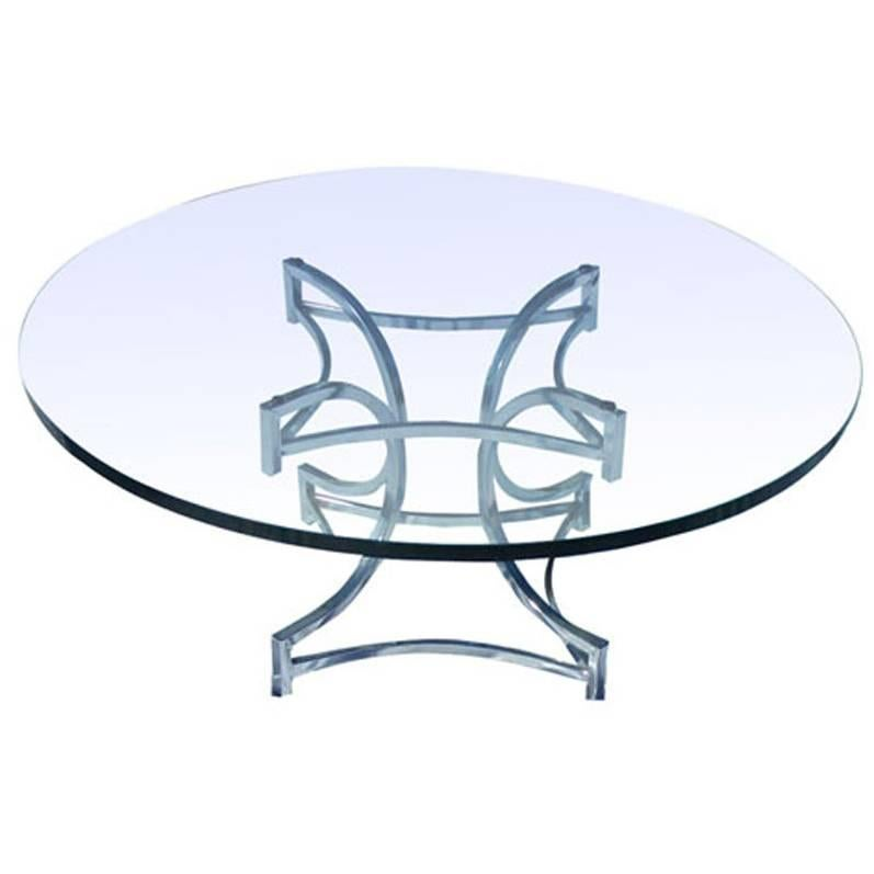 Vintage Mid-Century Milo Baughman Style Chrome and Glass Coffee Table