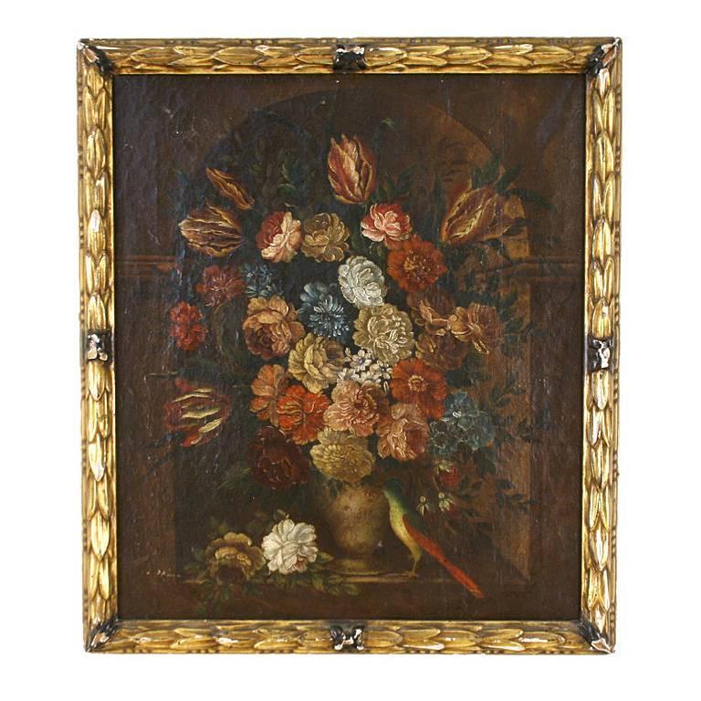 Flemish School Oil on Canvas Depicting a Floral Still Life