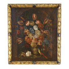 Flemish School Oil on Canvas Depicting a Floral Still Life