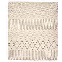 21st Century Modern Abstract Ivory and Brown Moroccan Rug 8.05x10.