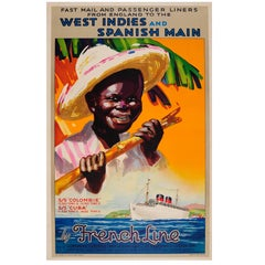 Original Vintage French Line Cruise Poster England To West Indies & Spanish Main