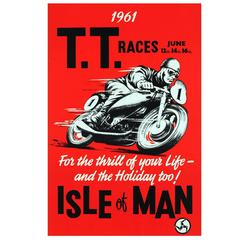 Rare Original Vintage 1961 Isle of Man TT Tourist Trophy Motorcycle Races Poster