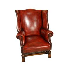 Good Red Leather and Oak Edwardian Period Antique Wing Armchair