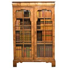 Walnut Queen Anne Revival Antique Bookcase