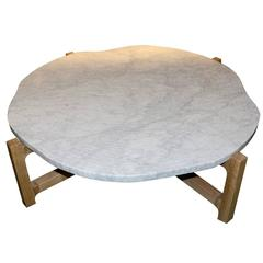 Coffee Table with White Marble Top as the Inside of a Tree Trunk