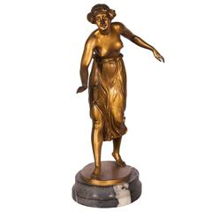 Art Deco Period Ormolu Figure of Girl by C. Rochlitz