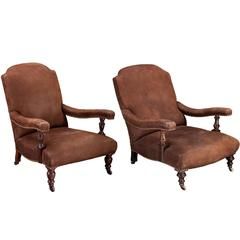 Near Pair of Gentleman's Armchairs