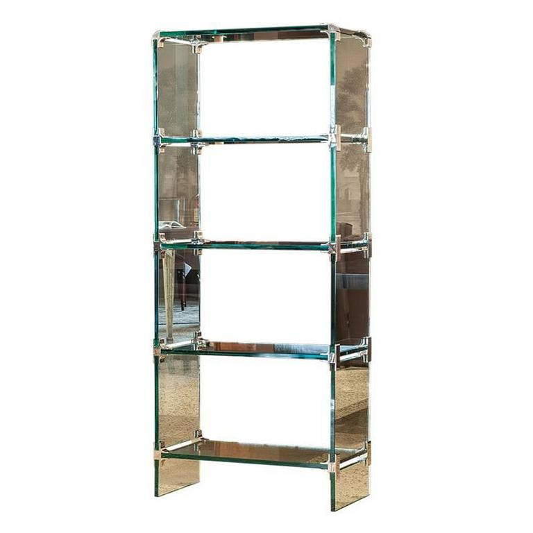 stunning glass etagere with polished stainless corner brackets for sale at 1stdibs. Black Bedroom Furniture Sets. Home Design Ideas