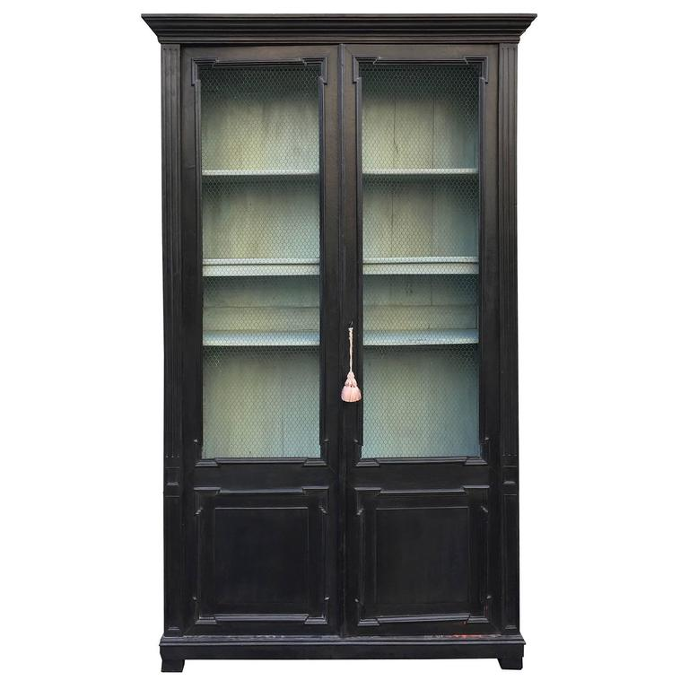 19th century french ebonized bibliotheque bookcase with. Black Bedroom Furniture Sets. Home Design Ideas