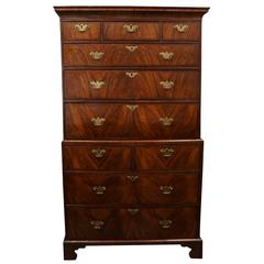 Period George II Walnut Chest on Chest from the Estate of Helga Marston