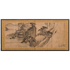 19th Century Japanese Screen: Ink Landscape Painting