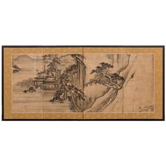 Japanese Screen, Ink Landscape Painting