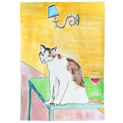 'Cat with Glass of Wine and Wall Light' Original Artwork