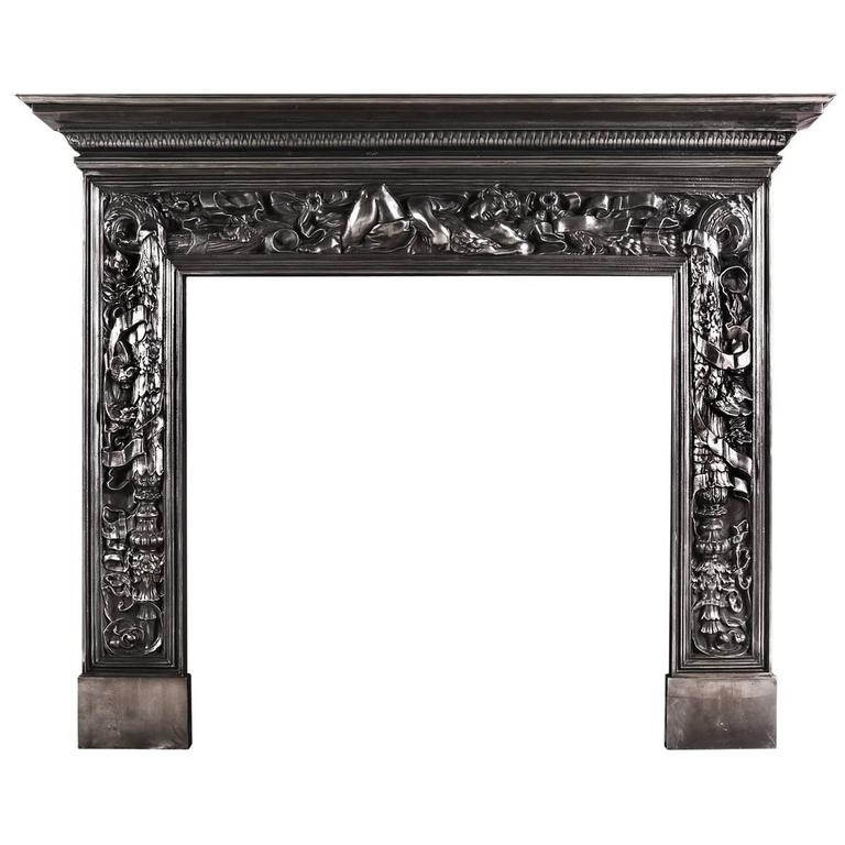 Ornate Cast Iron Fireplace Mantel with Reclining Classical Figure