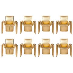 Steve Leonard for Brayton Metallic Gold Leather Dining Chairs, Set of 8