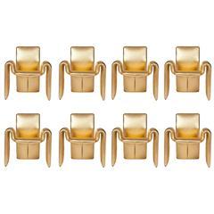 Steve Leonard for Brayton Metallic Gold Leather Dining Chairs, Set of 8