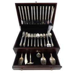 Aegean Weave Gold by Wallace Sterling Silver Flatware Set 12 Service 67 Pcs