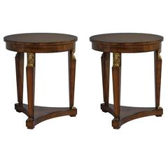 Pair of Round Empire Style Walnut End Tables