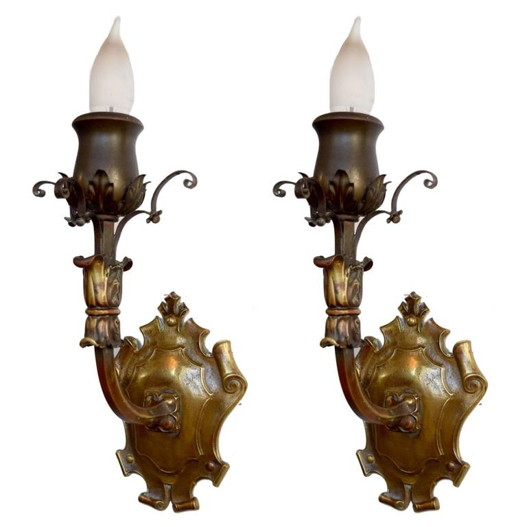 Wall Sconces Nyc: Pair Of Cast Brass Sconces By Sterling Bronze Company, New
