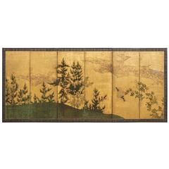 Japanese Screen, Sun and Moon Landscapes