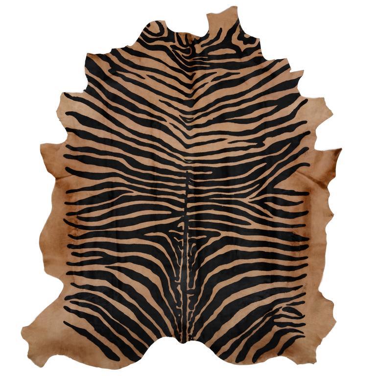 Zebra Rug Large: Large Contemporary Zebra Stencil Printed CowHide Hair Rug