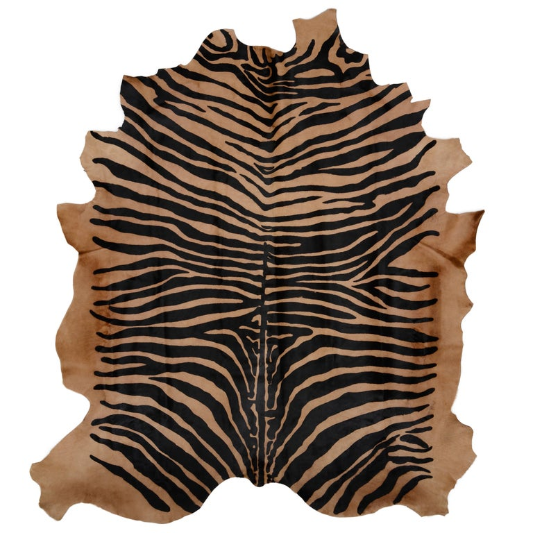 Large Contemporary Zebra Stencil Printed CowHide Hair Rug - Ink on Caramel For Sale