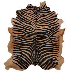 Large Contemporary Zebra Stencil Printed CowHide Hair Rug - Ink on Caramel