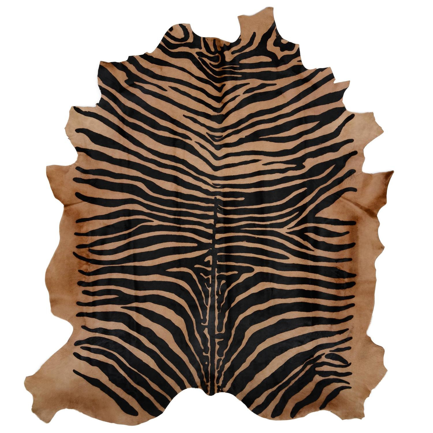 Large contemporary zebra stencil printed cowhide hair rug ink on