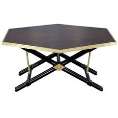 French Mahogany Hexagonal Cocktail Table with Brass Trim