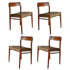Niels O. Moller Dining Chairs, Set of Four in Teak and Leather
