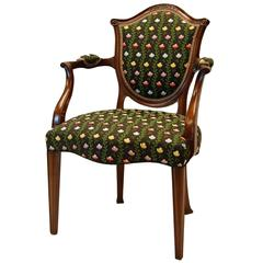 Hepplewhite Style Mahogany Open-Arm Chair Covered in Silk Brocade