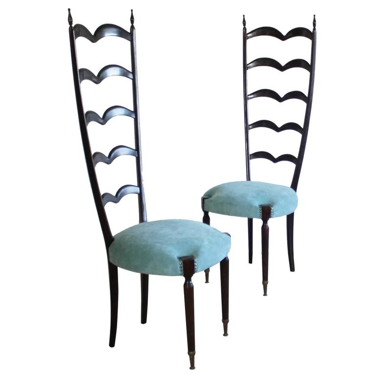 Pair of Highly Decorative Ladder Back Chairs by Paolo Buffa For Sale