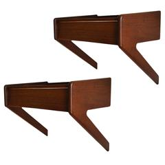 Danish Nightstands, Pair of Floating Wall Hung Bedsides