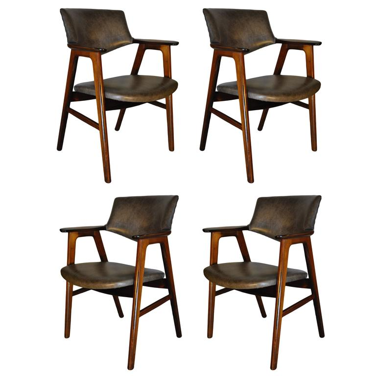 Erik Kirkegaard, Set of Four Chairs in Palisander and Leather 1