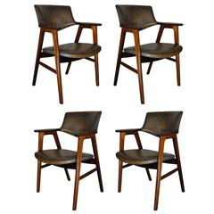 Erik Kirkegaard, Set of Four Chairs in Palisander and Leather