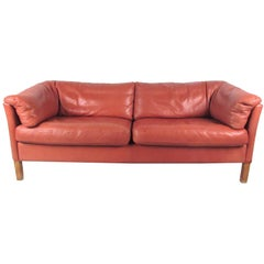 Danish Modern Love Seat in Leather by Børge Mogensen