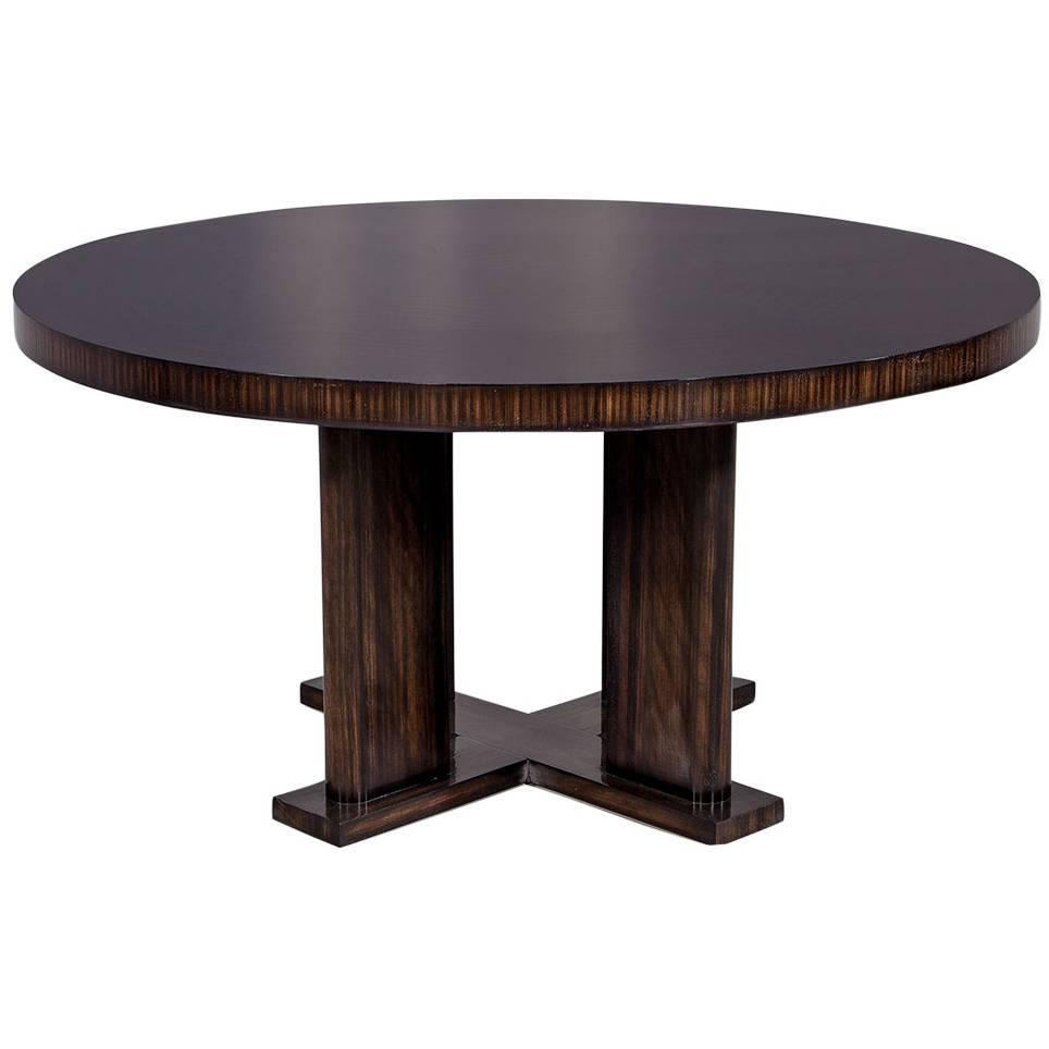 Diner Tables For Sale: Custom Modern Round Macassar Dining Table For Sale At 1stdibs