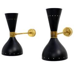 Pair of Beautiful Modernist Adjustable Italian Sconces Brass Stilnovo Style