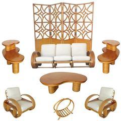 Rare Restored Mid Century Rattan and Mahogany Living Room Set