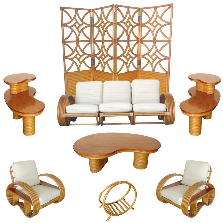 Rare Mid Century Rattan And Mahogany Living Room Set Saturday Sale For Sale At 1stdibs