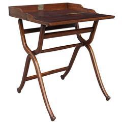 Early Victorian Mahogany Campaign Folding Travel Desk