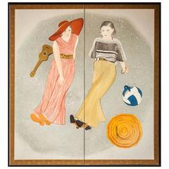 Japanese Screen Nihonga Painting of Girls at the Beach