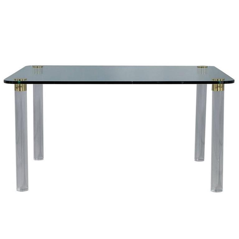 Lucite Dining Room Table: Pace Collection Glass Top Dining Table On Brass Capped