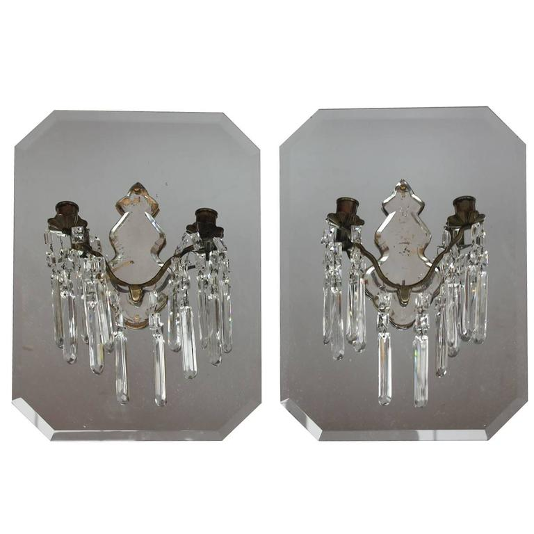 Antique Mirror Wall Sconces : Stylish Antique French Mirrored Wall Sconces For Sale at 1stdibs